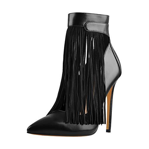 Damen Plateau Stiefeletten Ankle Boots Booties Stiefel Pumps High Heels Fransen