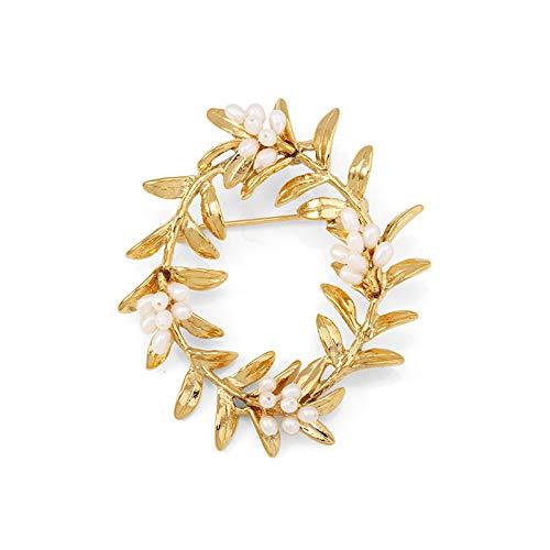 Broche de señora y broche de cristal vintage con diamantes de imitación Cc Broches Pin C Broche de perlas grandes para mujer chapado en oro antiguo