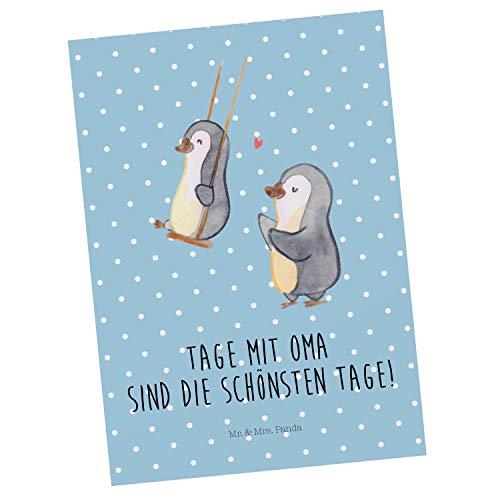 Mr. & Mrs. Panda Einladung, Karte, Postkarte Pinguin Oma schaukeln mit Spruch - Farbe Blau Pastell