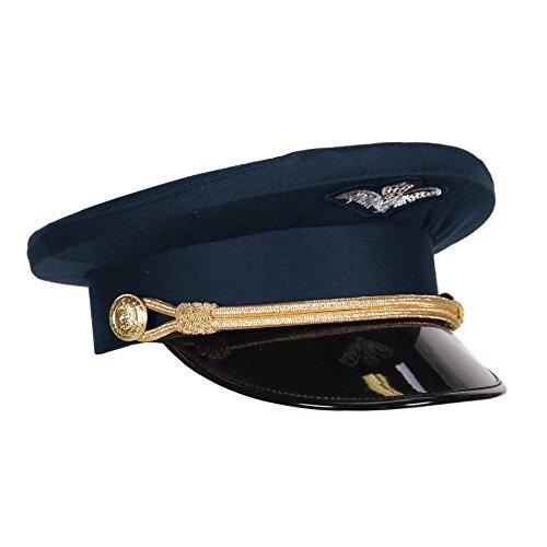 Kleidung zum Feiern Piloten-Mütze Marine Blau mit Kordel & Lackschirm | Größe 57, 59 oder 61 | Schirmmütze Dunkelblau | Flugkapitän Uniform Flugzeug Erwachsene Pilotenmütze Flieger (59)