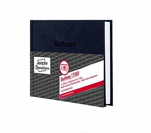 AVERY Zweckform 1735D Quittung MwSt. separat ausgewiesen (A6, Hardcover, 2x50 Blatt) weiß/gelb