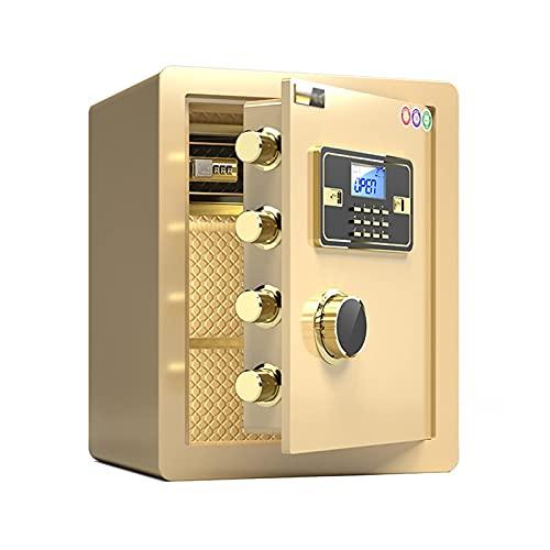 Cajas Fuertes Caja de código de Seguridad de Acero a Prueba de Fuego y antirrobo, Gabinete de Seguridad Multifuncional con Cerradura de Huellas Dactilares, 38x32x45cm, 2 Estilos