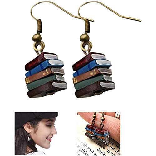 Pendientes de libros para mujeres y niñas, estilo retro, con colgante de biblioteca, pendientes de libro, pendientes de libro, para mujeres, regalo, amigo/familia