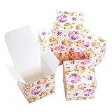 Logbuch-Verlag Caja de cartón pequeña rosa naranja flores corazón cubos caja 7 x 7 cm para rellenar joyero regalo para invitados caja de regalo plegable embalaje DIY 10 unidades