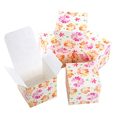 Logbuch-Verlag kleine geschenkdoos roze oranje bloemen hart kartonnen doos met deksel gastgeschenk verpakking verjaardag Give Away vouwdoos om te vullen 7 x 7 cm 25 Stück