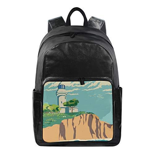 CPYang - Mochila de Playa con diseño de Faro y árbol, Mochila Informal para el Colegio, Mochila de Viaje para Mujeres y Hombres