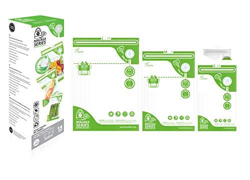 FOSa réutilisable Alimentaire sous Vide Sacs de Rangement sous Vide Sac 3Tailles, Mixtes Taille S4* M4* L6(14pcs/Lot) avec V-Adapter