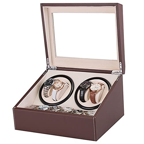 LYLSXY Reloj automático Winder con 4 Caja de enrollamiento de Reloj de Motor Tranquilo + 6 Reloj Flexible Almohadas Caja de Almacenamiento de Cuero (Color : Brown)