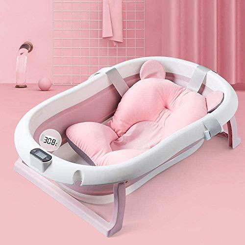 Babybadewanne mit Thermometer, Baby Neugeborene Badewanne mit Anti-Rutsch-Matte, Badewanne faltbar und verstaubar, blau und rosa rosa Badewanne + schwimmendes Bärenkissen