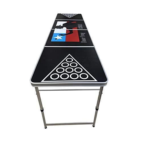 DUTUI Faltbare Bier Tischtennisplatte, Tragbare Bierspielhöhe Höhenverstellbar, 240X60x70cm, Party Camping Outdoor Trinkspiel