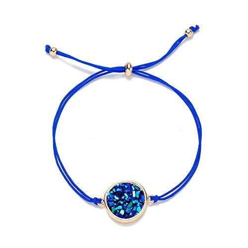 lonfenner Kristall Armreif,Naturstein Armband, Quarzkristall Druzy Charme Bracelet, Navy Blue Damen Seil Cuff Bracelet Geschenk, Geburtstag Geschenk, Weihnachten Geschenk