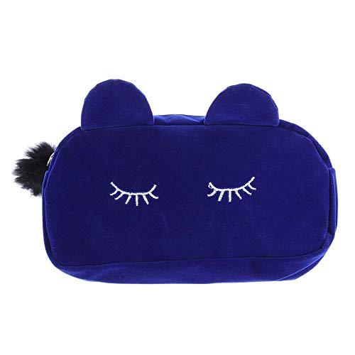 Caomei Blue Cat Cosmetic Bag Coin Storage Box Sac de voyage en flanelle pour maquillage Sac mignon pour femme Détails sur les tailles : 19 cm x 5 cm x 12 cm / 7,48\