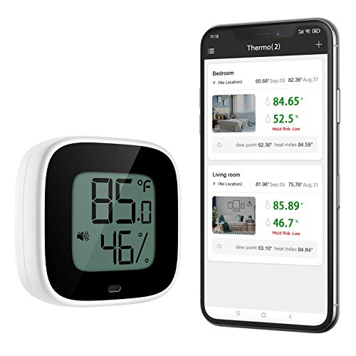 ORIA Bluetooth Thermometer Hygrometer, Kabelloses Thermometer Hygrometer mit App für IOS und Andiord, Innen Thermometer mit Daten Export, Alarmfunktion, Geeignet für Innenräume/Gegenstände