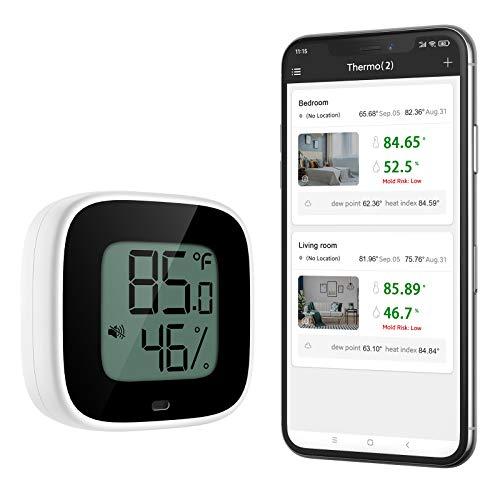 ORIA Termometro Igrometro Bluetooth 5.0, [Aggiornato] Sensore di Temperatura Wireless con APP per iOS e Android, Termometro da Interno con Esportazione dati Gratuita, Funzione di Allarme per Casa