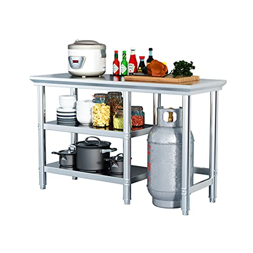 Mesa de trabajo de acero inoxidable con estante, mesa de trabajo de preparación de alimentos comercial para trabajo pesado, color plateado, mesa de preparación de alimentos para exteriores