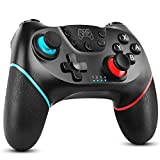 Dhaose Controller für Switch, Bluetooth Wireless Pro Controller für Switch/Switch Lite,mit Einstellbarer Turbo Funktion/Dual Shock / 6-Achsen Gyro (Nero)