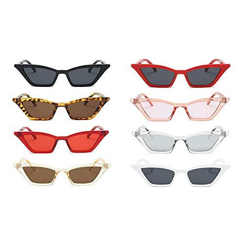 Tianayer 8 Paare Frauen Retro Katzenaugen-Sonnenbrille Weinlese-Quadrat-Farbton Brillen Brillen
