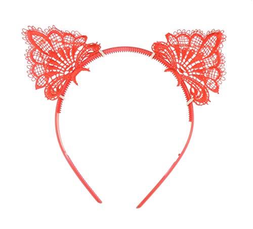 Glamour Girlz Flickor damer fin klänning spets fest Deeley Bopper pannband kattöron (röd)