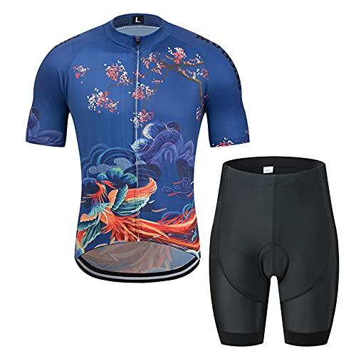 JQKA Conjunto Ropa Equipacion Traje Ciclismo Hombre para Verano, Maillot Ciclismo Hombre+Culotte...