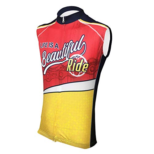Life is A Beautiful Ride II Men's Sleeveless Cycling Jersey L - Men's Red
