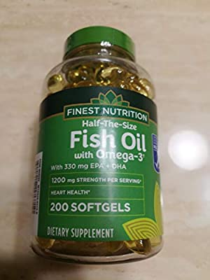 Finest Nutrition Half-the-Size Fish Oil 1200 mg, Softgels, 200 ea