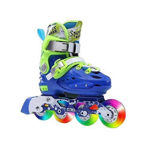 Taoke Inline-Skates, Erwachsene einreihig Skates Professionelle Männer und Frauen Adjustable Skates Voll Flash (Farbe: Blau, Größe: S (25-32 Meter)) dongdong (Color : Blue, Size : S (2532 Yards))