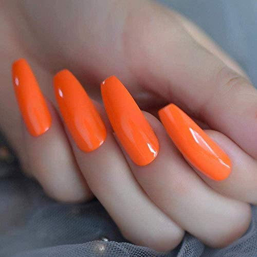 TJJF Faux ongles Hot Neon Orange Long Coffin Nails Incroyable Glossy Polish Cover Extra Long Ballerina Fake Nails 24 Ct