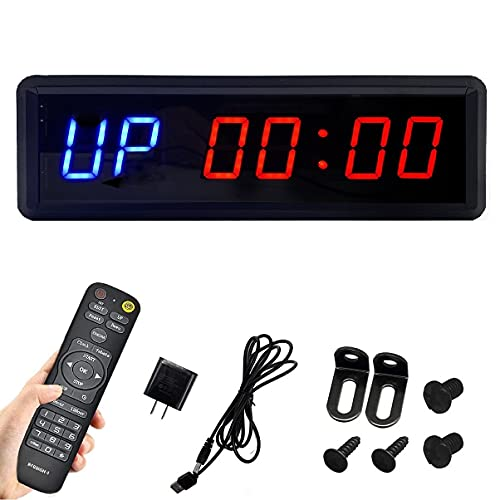 BTBSIGN LED Interval Timer Count Down/Up Clock Stopwatch with Remote for Home Gym Fitness (Two...