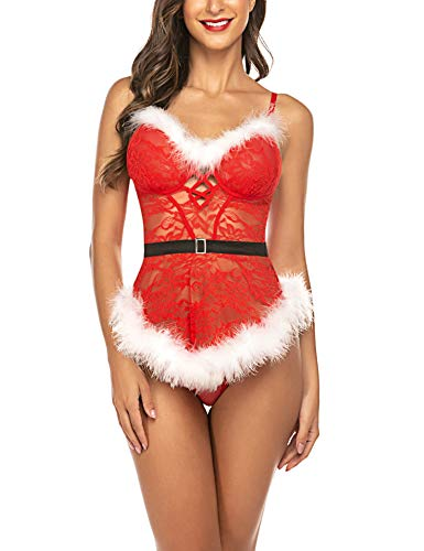 Lucyme Reizwäsche Dessous Set Weihnachten Lingerie Damen Sexy Weihnachts Babydoll Christmas Kostüm Nicolaus Negligee mit G-String, Rot, XL