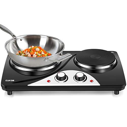 CUKOR Electric Hot Plate , 1800W Countertop Burner, Dual Electric Burner, Portabel Double Burner for Cooking