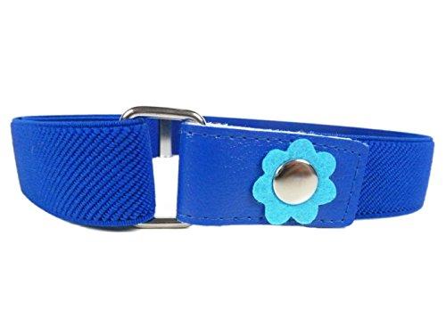 Olata Elastischer Gürtel für Mädchen 1-6 Jahre, mit Blume Design - Marineblau