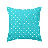 DessF10 18 X 18 Inch Aqua Blue Polka Dot Pillow Cover Cushion Cases Print Zippered Outdoor Indoors Two Sides
