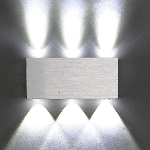 X-Sunshine Modern Wall Lamp 6W 6 LED Spot Light Sconce Lighting Convex Mirror LED Wall Sconce Decor Fixture Light Lamp for Living Room Bedroom (White)