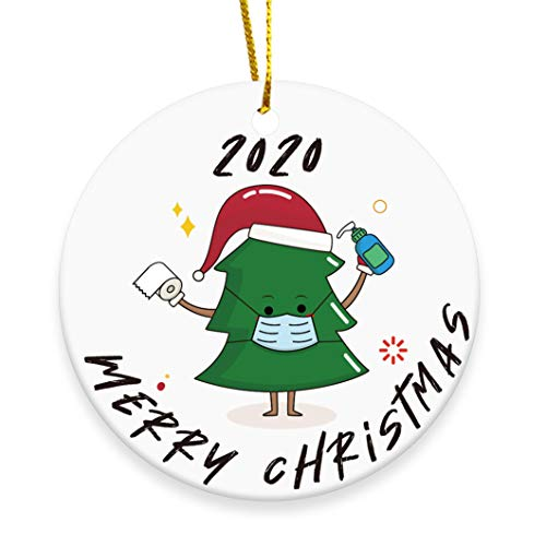 2020 Christmas Tree Ornament, Merry Christmas Cute Masked Xmas Tree Hanging Decoration - 3 inch Circle Ceramic Double-Sided Printed Holiday Christmas Family & Friends Gift (Xmas Tree - 01)