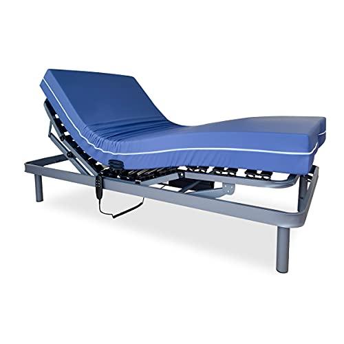 SOMNIA Pack Cama Articulada Reforzada 5 Planos + Colchón Sanitario | Hospitalario | Sanitario | Funda Impermeable e Ignífuga | 90x180