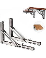 Opvouwbare Plank Beugels, Vouwplankbeugel roestvrijstalen klapconsole, 2 stuks Wandbeugel plankhouder, houder voor planken plankdragers inklapbaar - 150 lbs