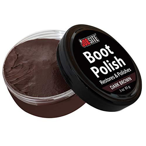 JOB SITE Jobsite Premium Leather Boot & Shoe Polish Cream - Restores, Conditions & Polishes - Dark Brown - 3 Oz