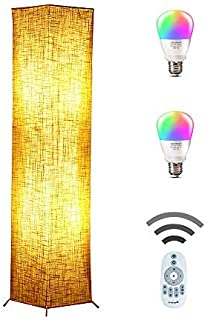 Floor Lamp, CHIPHY Square Standing Lamp, Color Changing and Dimmable Smart RGB Bulbs, Brown Linen Shade and Romote Control, Modern Light for Living Room, Bedroom and Office