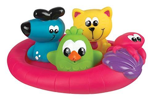 Playgro Badespielzeug Schwimmende Freunde, 4-teilig, BPA-frei, Ab 6 Monate, Floating Friends Squirtees, Pink/Bunt, 40123