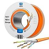 hb-digital 100m Cable de Red Cat.7 Cable de instalación LAN AWG 23 Cobre Puro S/FTP PiMF LSZH Cable de instalación Ethernet Que Cumple con RoHS Cable de Datos PoE 10Gbit/s máx. 1000MHz Naranja