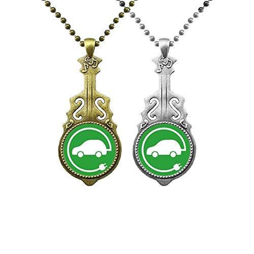 Anhänger mit rundem Stecker für Energiefahrzeuge zum Schutz der Umwelt, Musik, Gitarre, Schmuck, Halskette