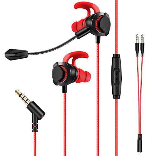 Auriculares In-Ear con Dual Micrófono para Xbox One, PS4, Switch, PC y Telefono, AGPTEK Cascos Gaming Estéreo con Cancelación de Ruido para Correr, Entrenamiento, Negro y Rojo