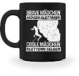 shirt-o-magic Klettern: Coole Mädchen klettern - Tasse -M-Schwarz