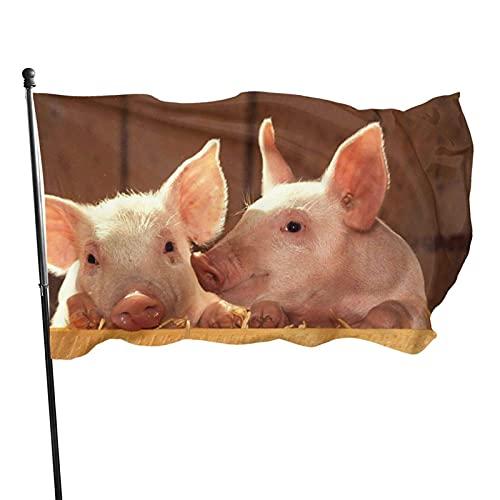 Bandera de jardín Bandera de Cerdos Lindos Color Vivo y Resistente a la decoloración UV Bandera de Patio de Bienvenida Bandera de decoración de jardín 90 x 150 cm