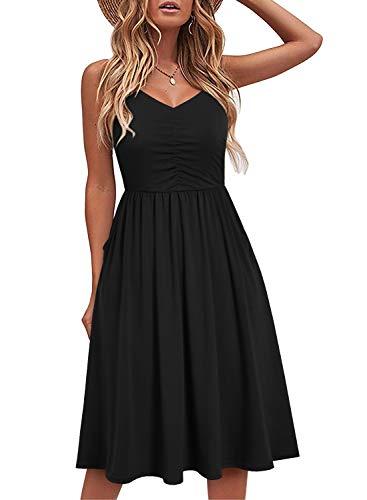 YATHON Women's Spaghetti Straps Party Sundress Casual Beach Summer Dresses (M, YT090-Black)