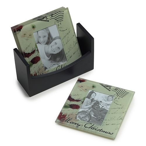 Melannco Merry Christmas Photo Coasters Set of Four