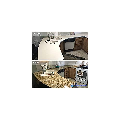 "EZ FAUX DECOR Instant Venetian Gold/Santa Cecilia Marble Granite Countertop Film Self Adhesive Vinyl Wallpaper Paper Laminate Countertop Peel and Stick 36"" x 240"""