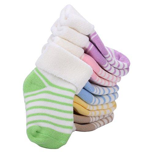VWU Lot de 6 Paires Unisexe Bebes Infant Chaud et épais Antiderapants Chaussons Chaussettes de Manchette Rayées Nouveau-Nés Bébé Chaussettes en Coton 0-12 mois