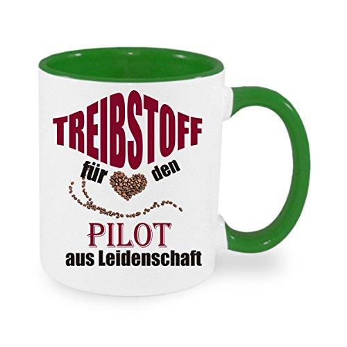 Treibstoff für den Pilot aus Leidenschaft - Kaffeetasse mit Motiv, bedruckte Tasse mit Sprüchen oder Bildern - auch individuelle Gestaltung nach Kundenwunsch