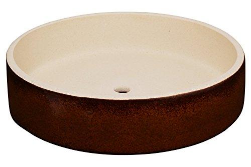 K&K Bonsaischale/Pflanzschale braun 24x6cm (Volumen: 1000 ml) Outdoor geeignet, Rand unglasiert aus Schwerer Steinzeug-Keramik (5 Jahre Garantie)